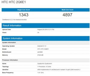 HTC U12 Life Appeared On GeekBench With Snapdragon 660